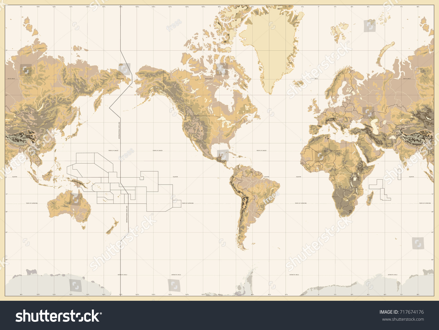 Vintage physical world map america centered colors brown stock vintage physical world map america centered colors of brown no bathymetry and text gumiabroncs Choice Image