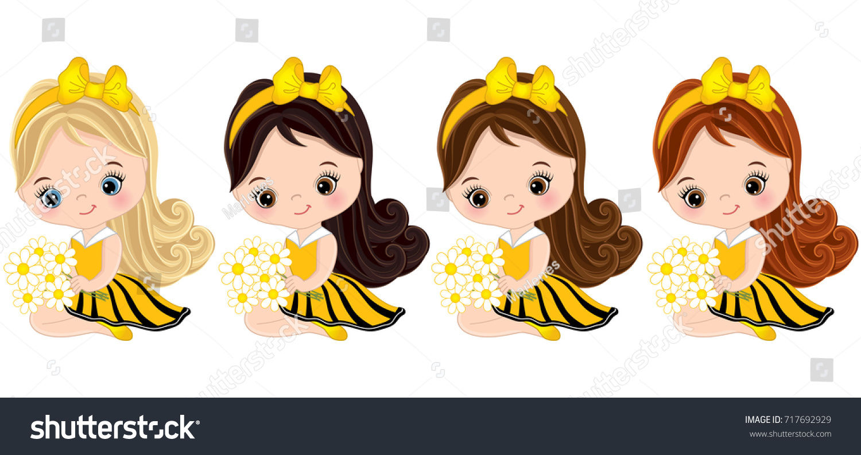 Vector Cute Little Girls Various Hair Stock Vector Royalty Free