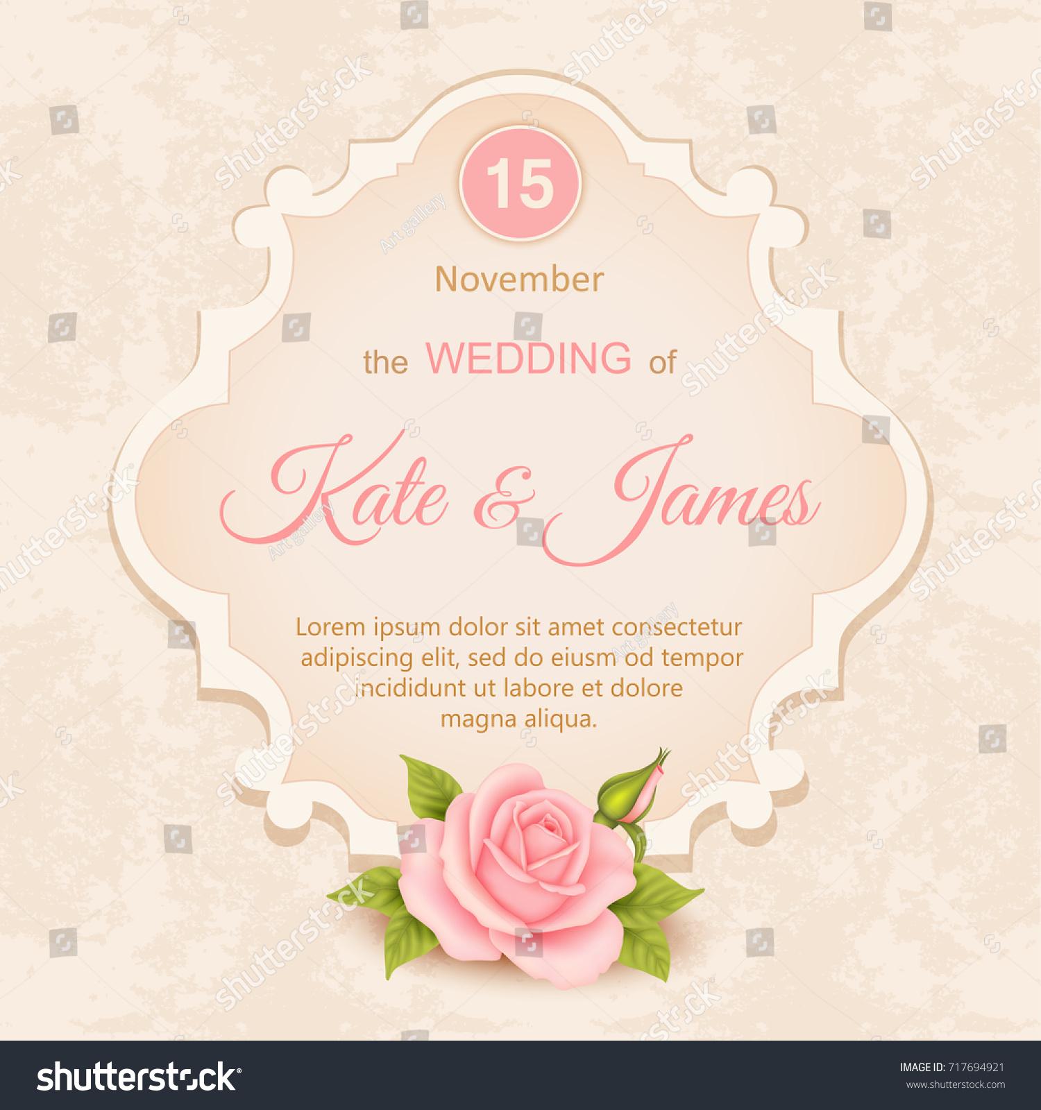 Vector Vintage Wedding Invitation Roses Stock Vector 717694921