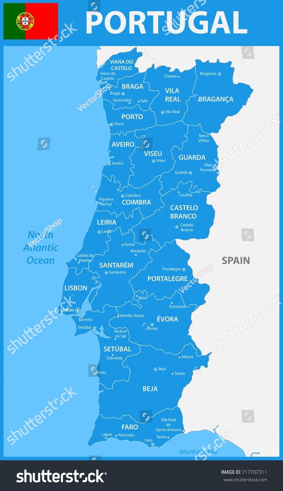 Detailed Map Portugal Regions States Cities Stock Illustration - Portugal map with cities