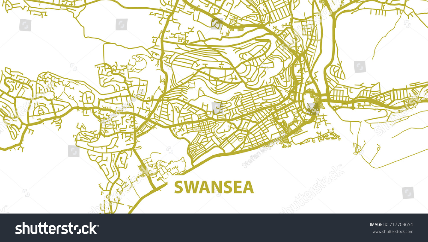 Detailed Vector Map Swansea Gold Title Stock Vector 717709654