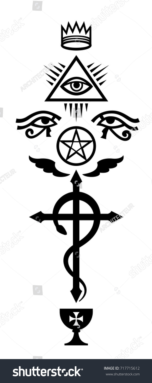 Crux Serpentines The Serpent Cross Mystical Stock Vector Royalty
