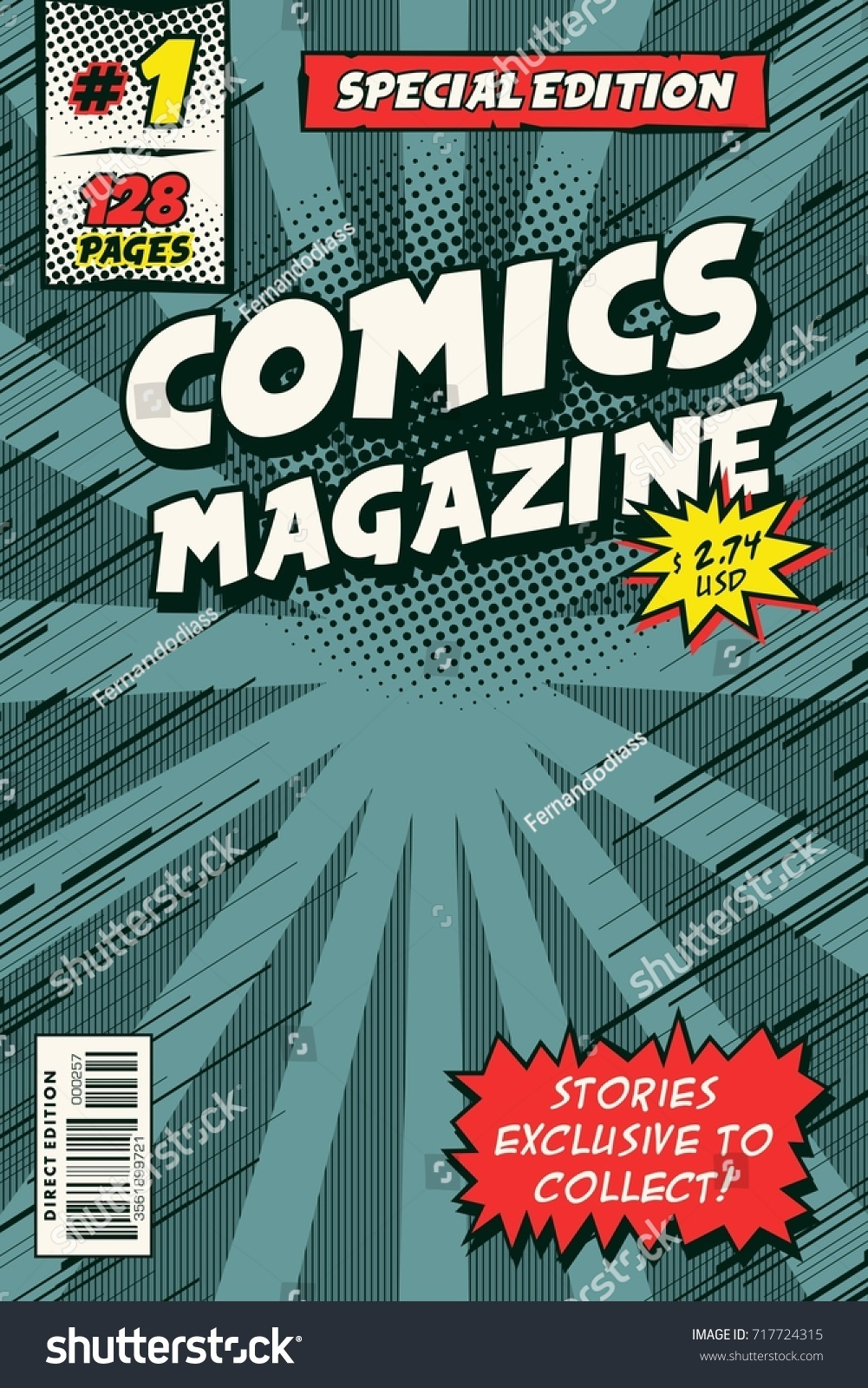 Comic book cover model. Vector art colorful | EZ Canvas