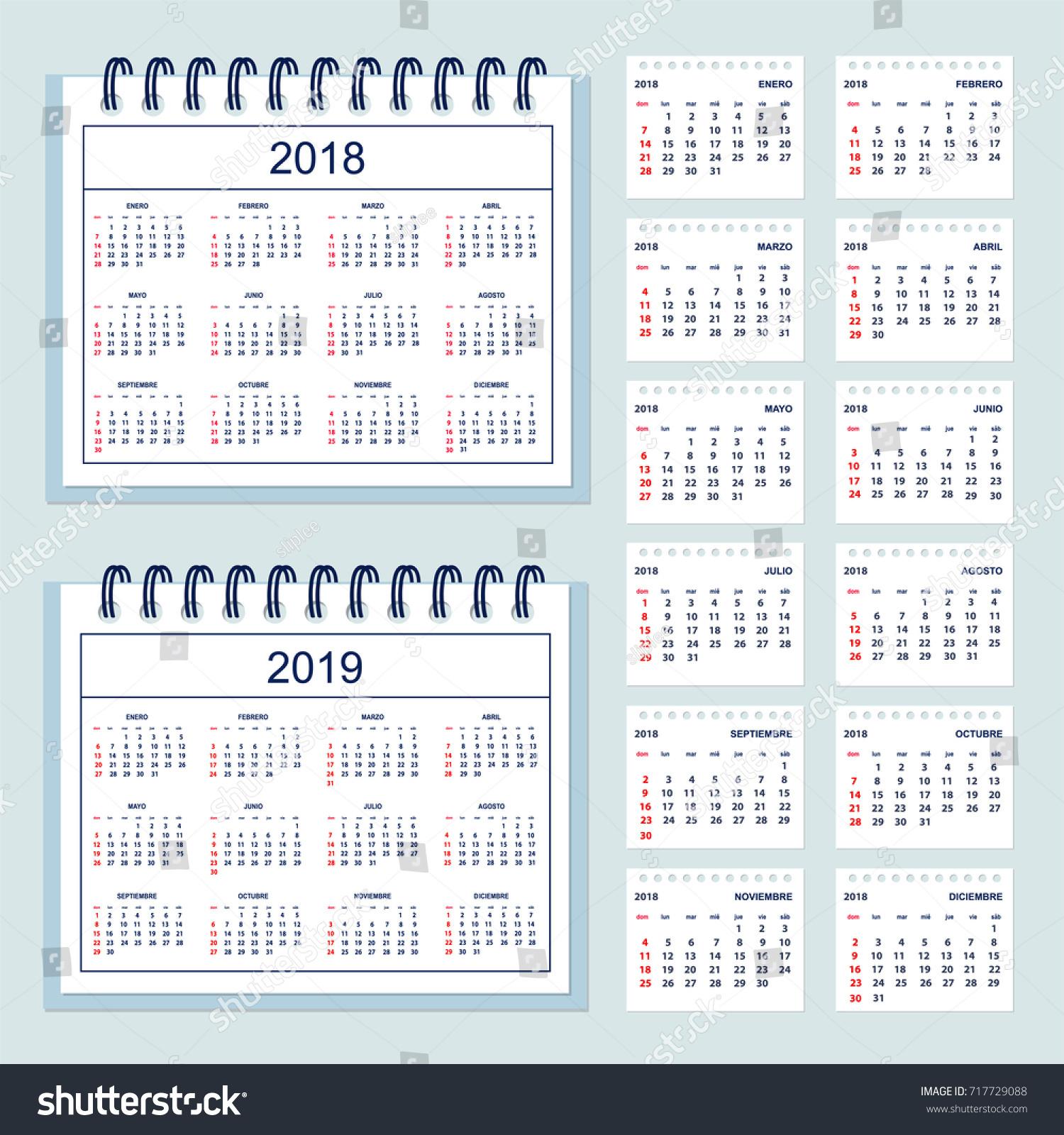 set business calendar desk year 2018 stock vector 717729088 shutterstock