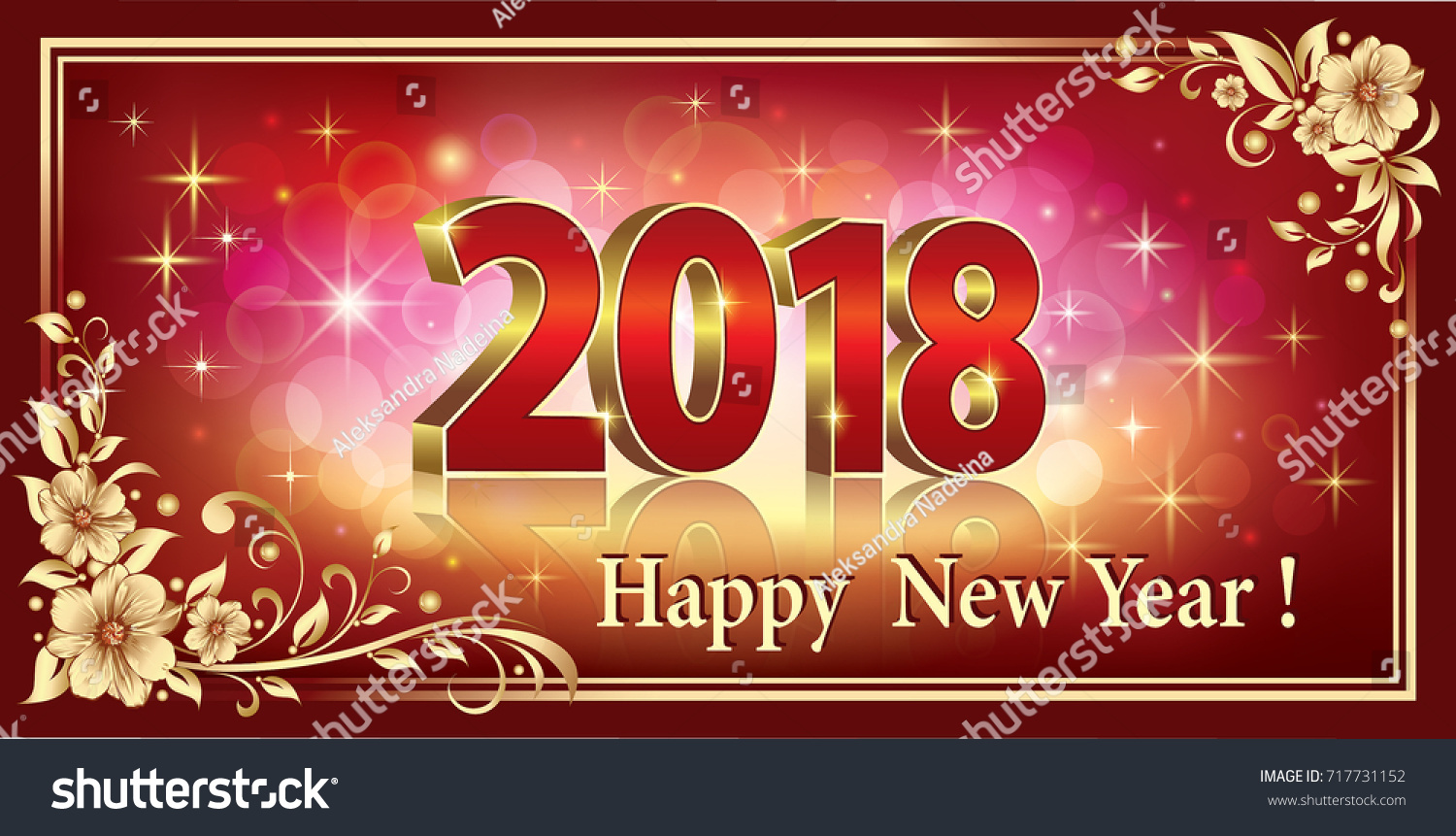 postcard happy new year 2018 in a frame with a floral ornament on a red background