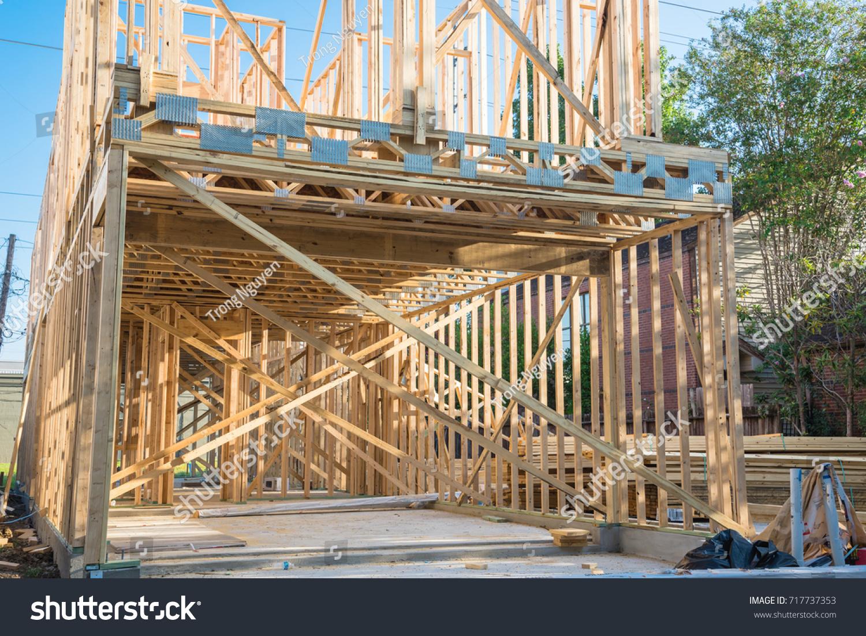 Closeup Wooden Frame House Under Construction Stockfoto (Lizenzfrei ...