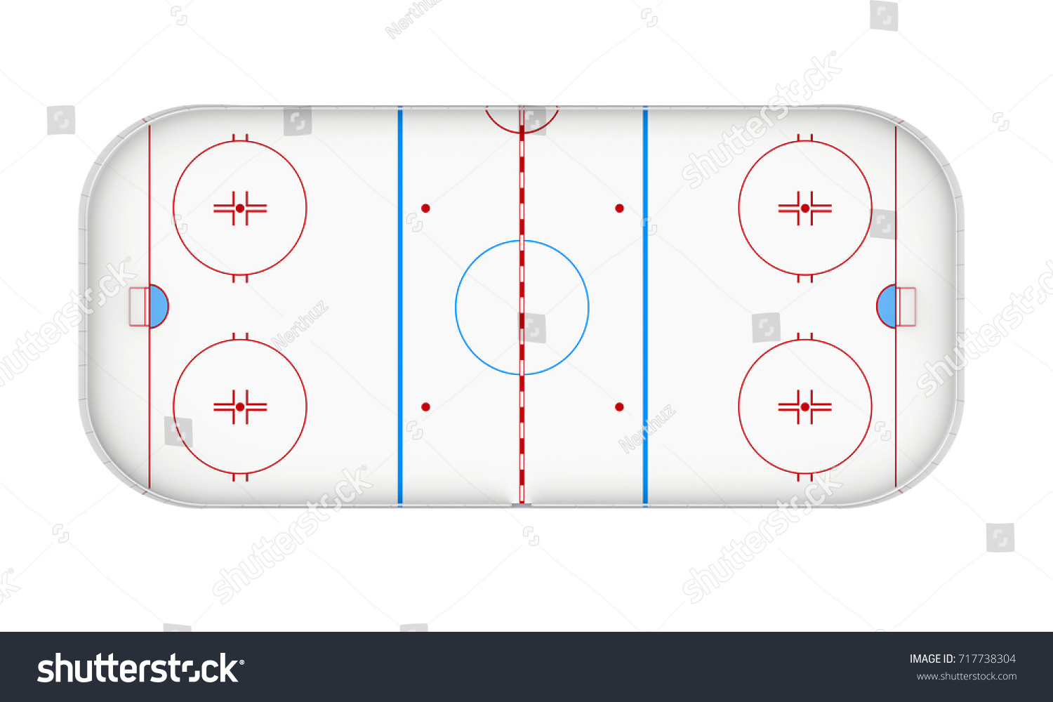 Top View Ice Hockey Rink Isolated Stock Illustration 717738304 ...
