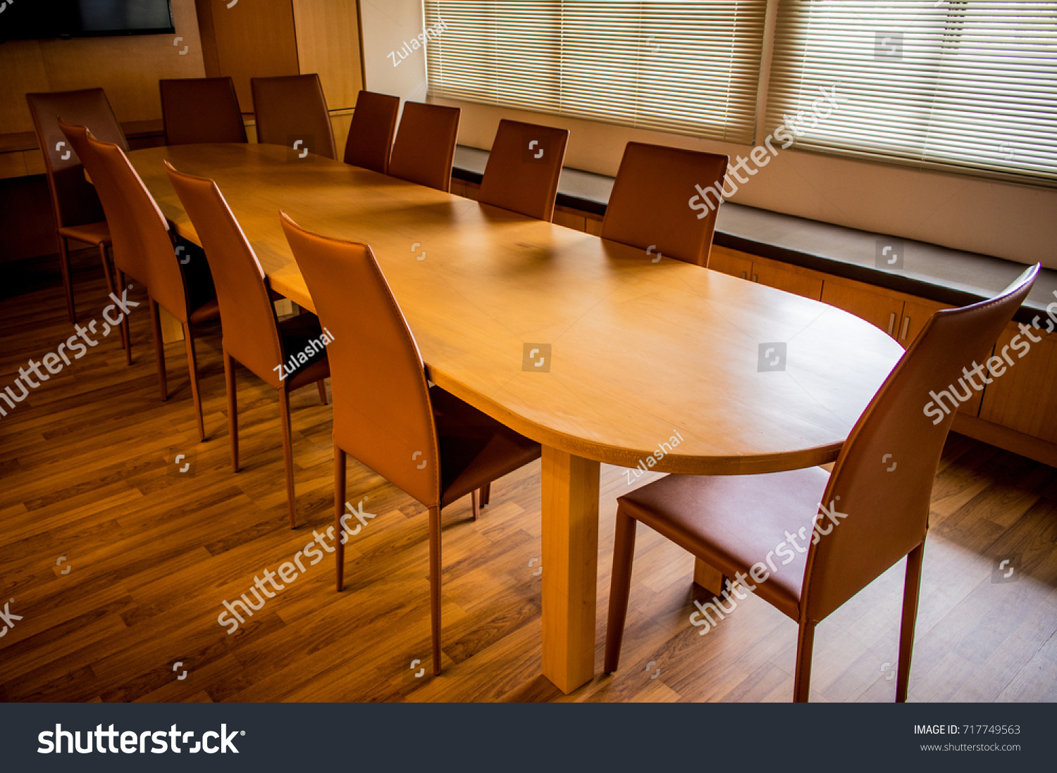 Empty Wooden Table Chairs Meeting Room Stock Photo 717749563   Shutterstock