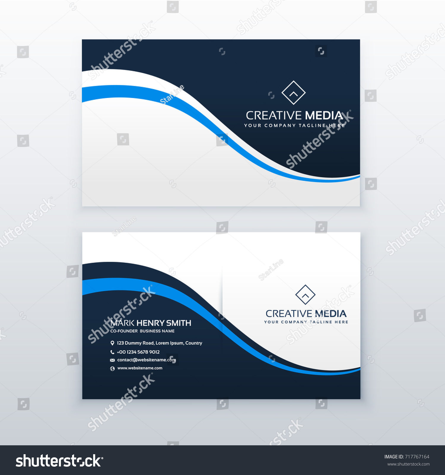 Professional Business Card Design Blue Wave Stock Vector 717767164 ...