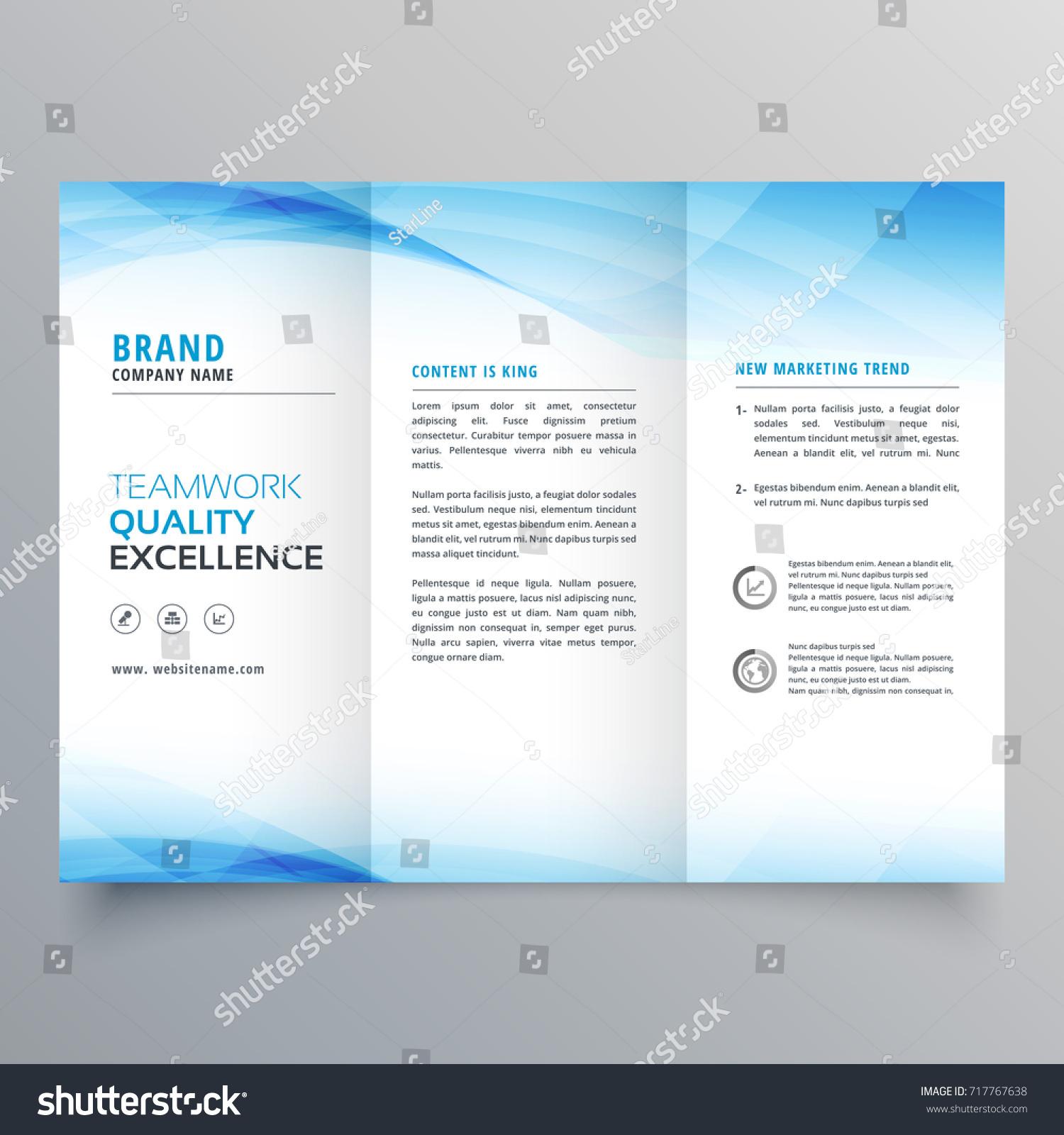 elegant brochure templates - elegant blue business trifold brochure design stock vector