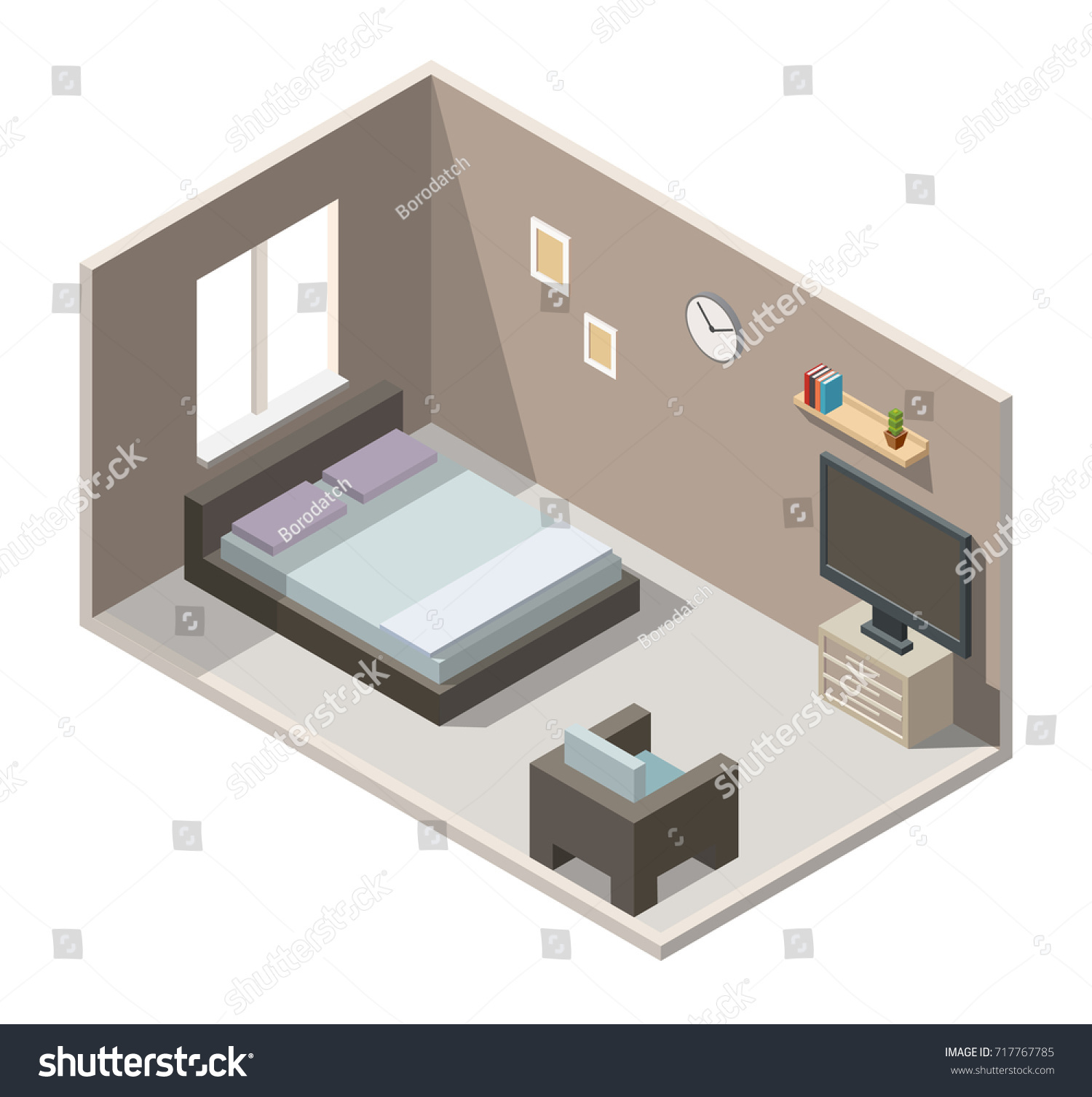 Bedroom Home Cinema Interior Isometric Stock Photo (Photo, Vector ...