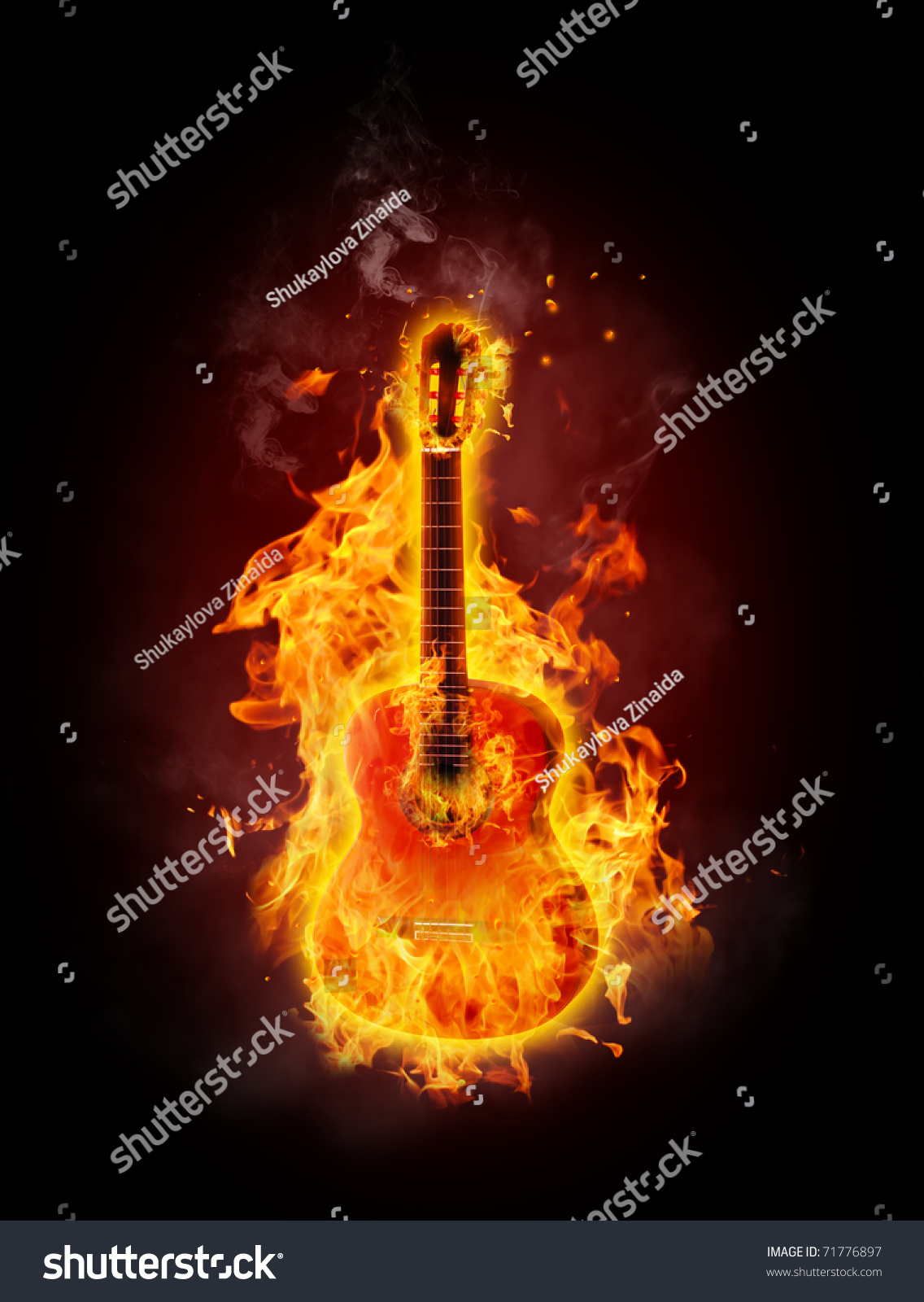 guitar acoustic fire flame - photo #5