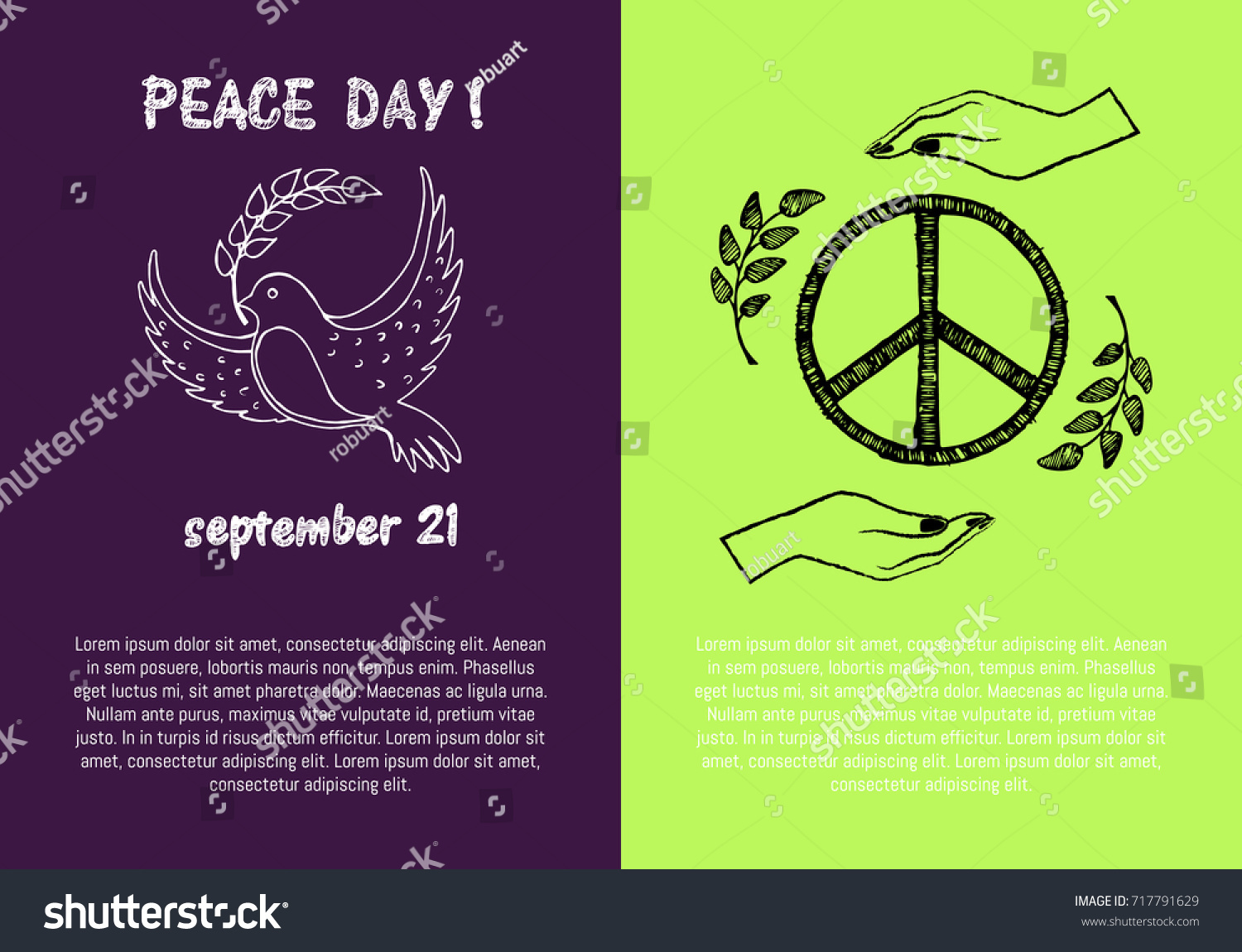 Peace day september 21 two pictures stock vector 717791629 peace day september 21 two pictures concerning holiday presenting symbols and filling form for biocorpaavc Images