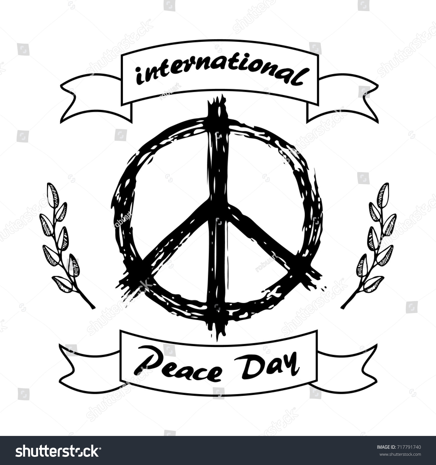 International peace day logo hippie sign stock vector 717791740 international peace day logo with hippie sign in black and white colors and olive branch symbols biocorpaavc Images