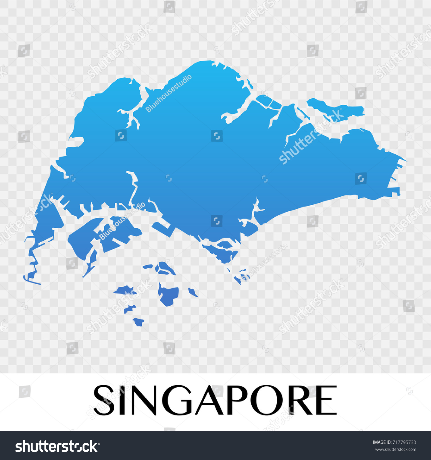 Singapore On The Map Of Asia.Singapore Map Asia Continent Illustration Design Stock Vector