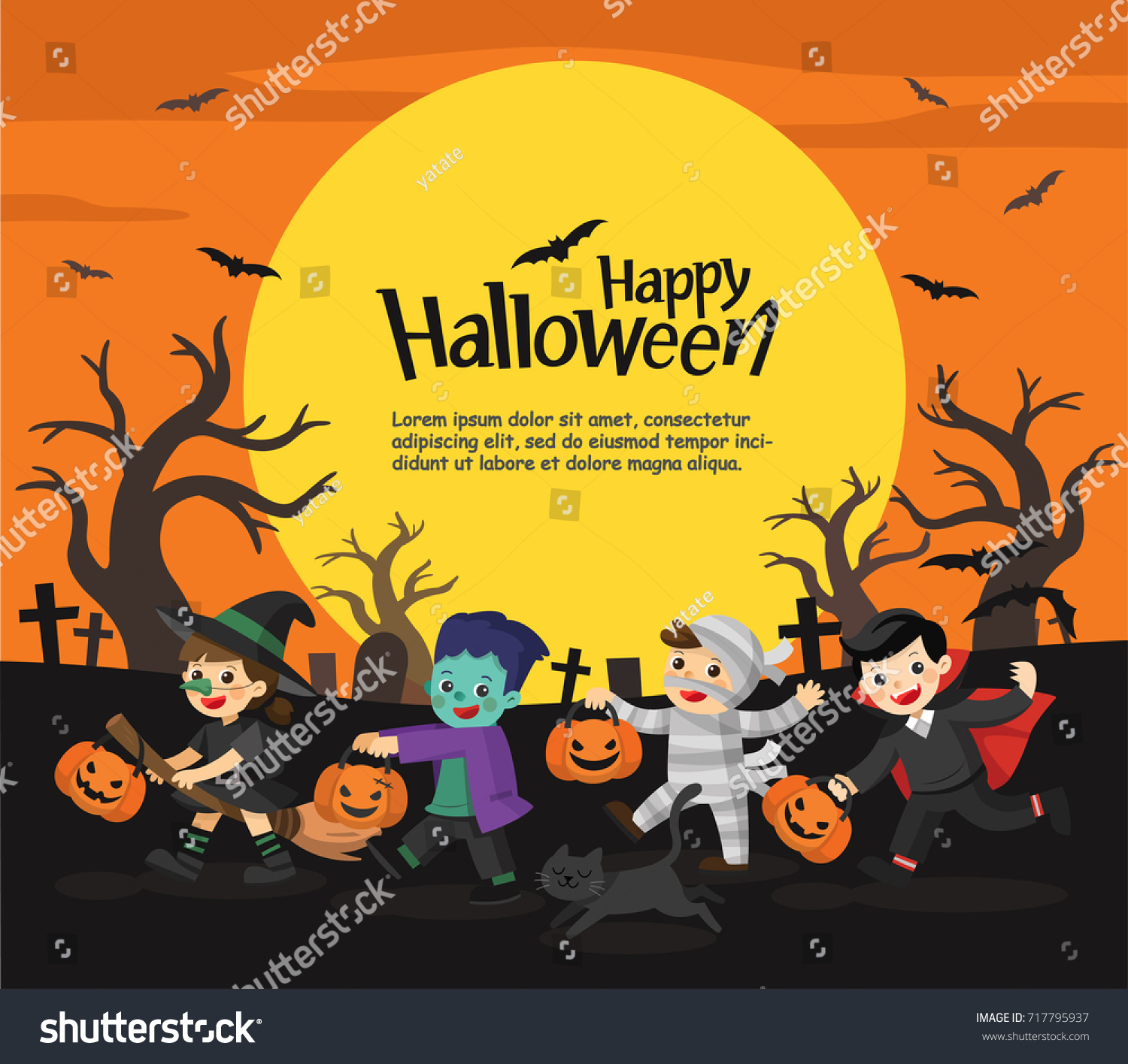 children dressed halloween fancy dress go stock vector 717795937