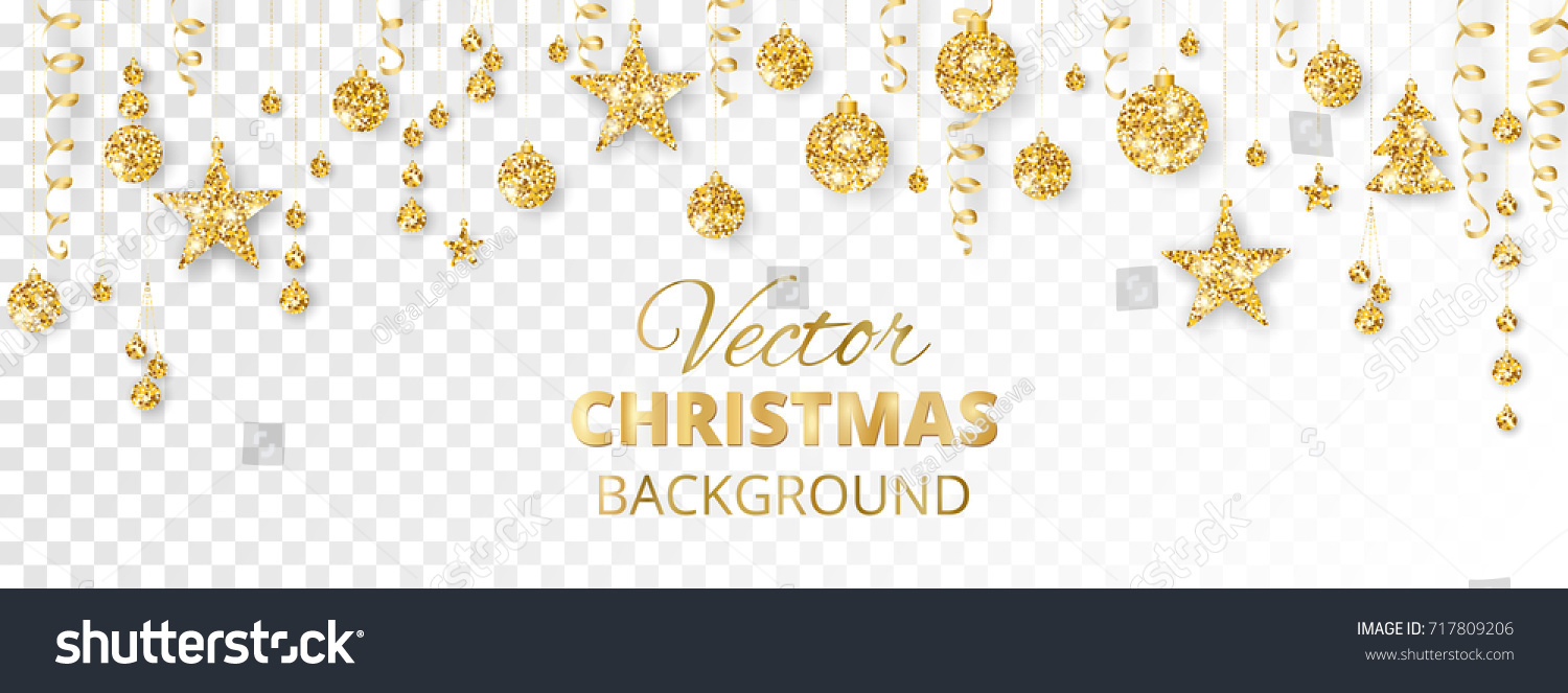 Banner with sparkling Christmas glitter ornaments isolated on transparent background. Golden fiesta border. Festive garland with hanging balls and ribbons. Great for New year party posters, headers. #717809206