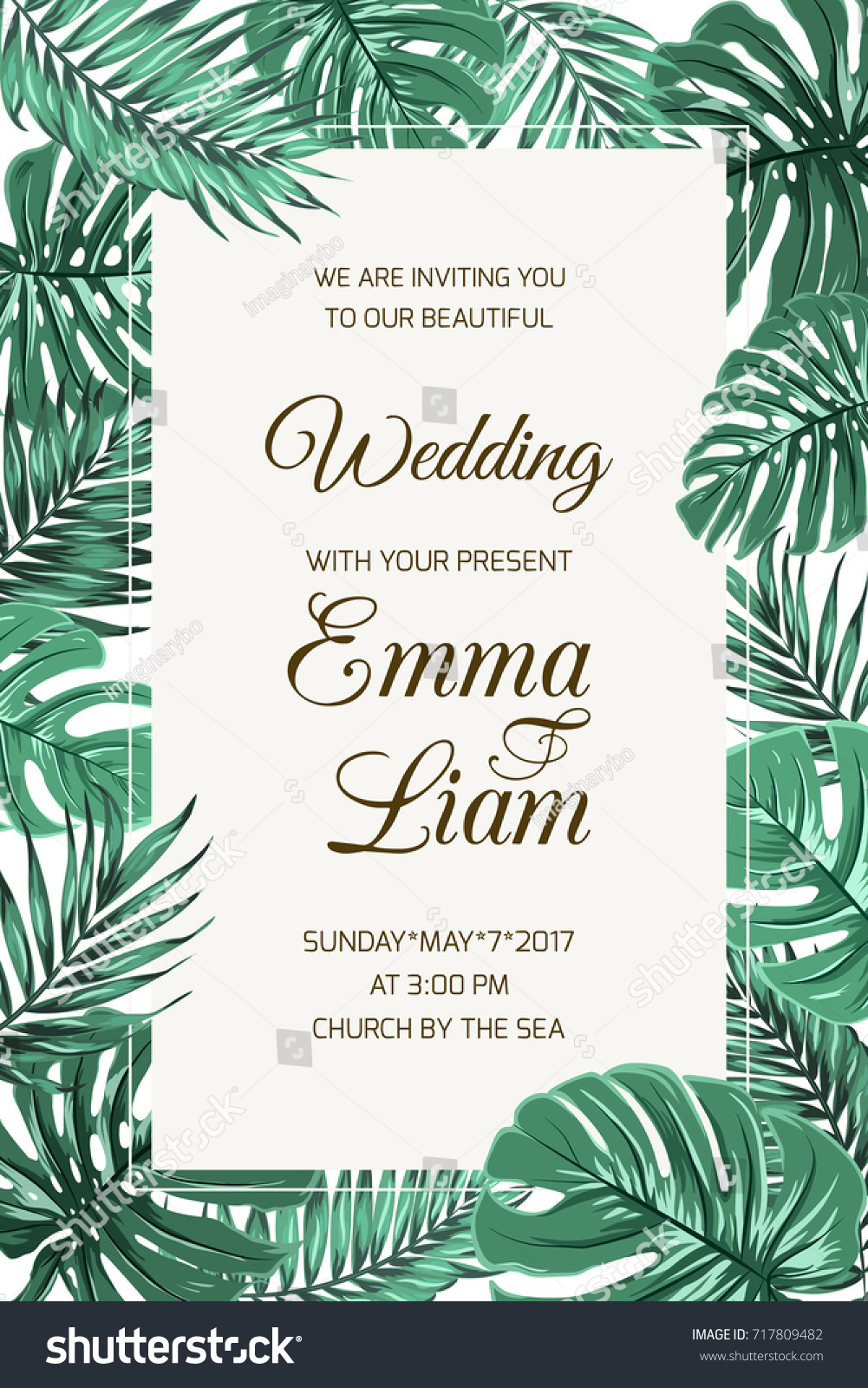 Wedding event invitation card template exotic em vetor stock wedding event invitation card template exotic tropical jungle rainforest bright green palm tree and monstera stopboris Image collections
