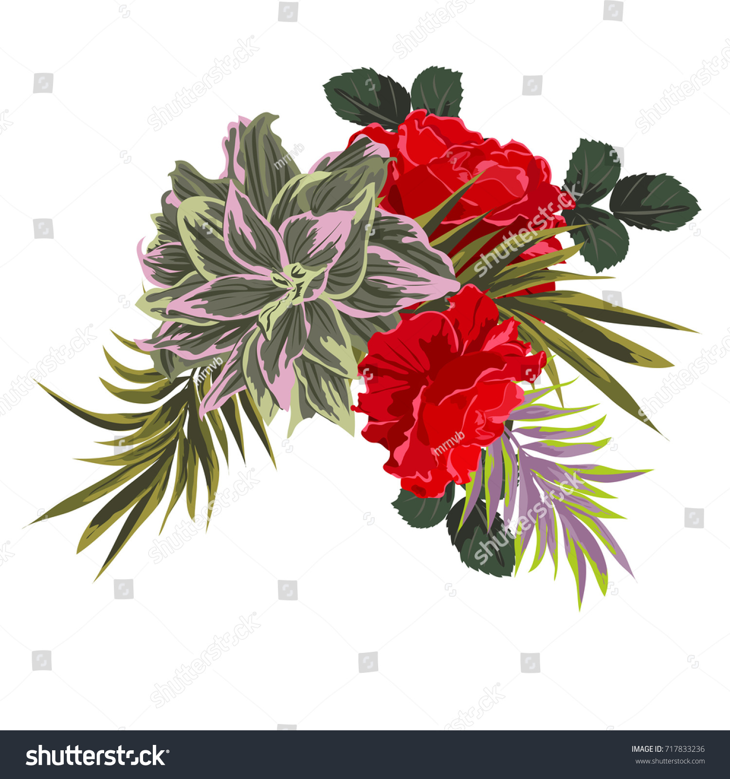 Tropical bouquet of roses and exotic leaves. Decor elements for ...