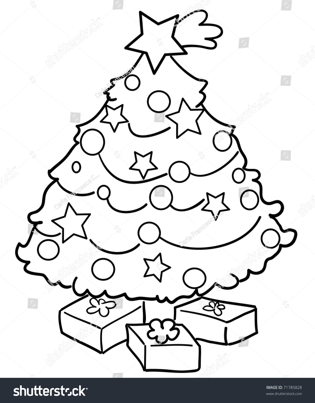 Christmas tree drawing black and white - A Black And White Illustration Of A Christmas Tree With Gifts