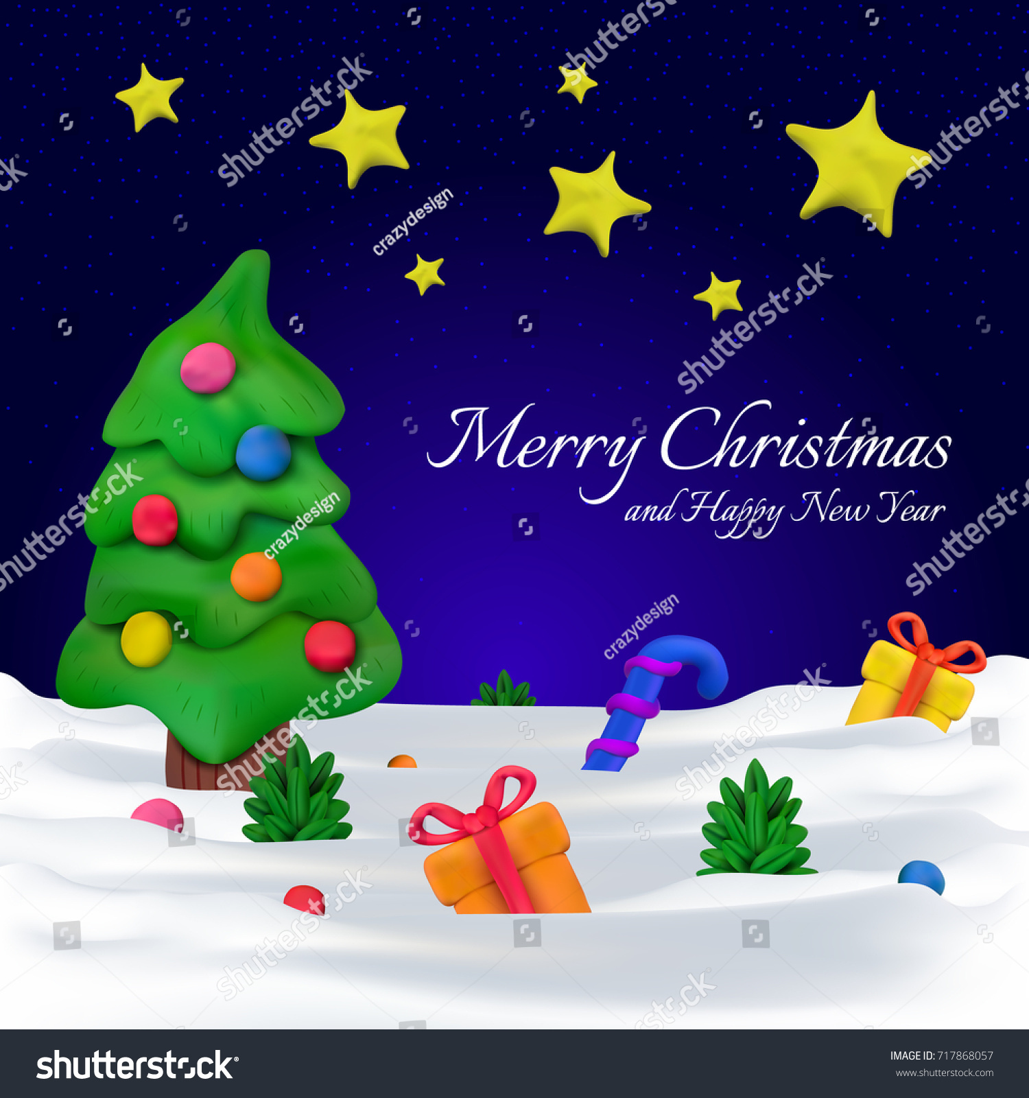 handmade vector plasticine greeting card or banner for christmas and happy new year vector illustration