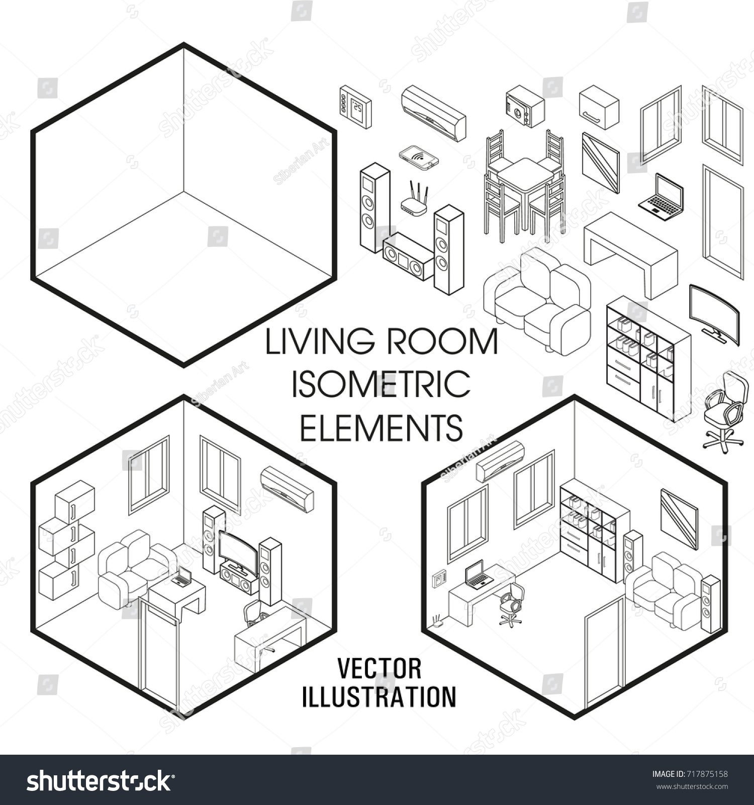 Vector Of Living Room Stock Vector Image Of Sofa: Isometric Living Room Interior Constructor Vector Stock