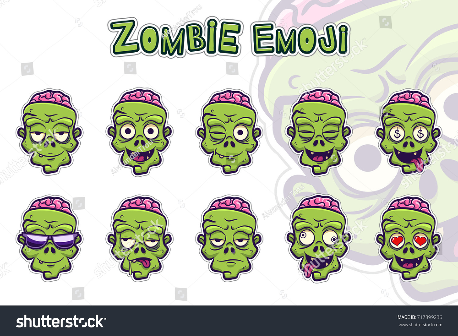 Zombie emoji symbols set green zombie stock vector 717899236 zombie emoji symbols set green zombie cartoon head sticker with different emotions funny spooky biocorpaavc Choice Image