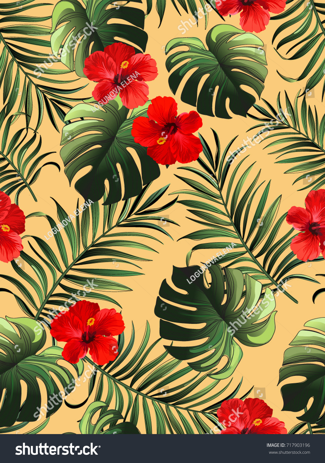 Beautiful seamless vector floral pattern tropical stock vector beautiful seamless vector floral pattern with tropical palm leaves and hibiscus flower template for wallpapers izmirmasajfo