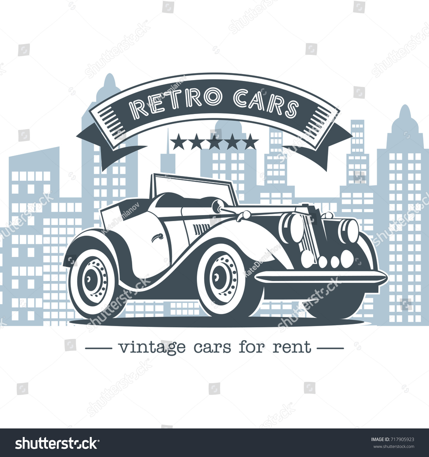Vintage Car Retro Cars Rent Monochrome Stock Photo (Photo, Vector ...