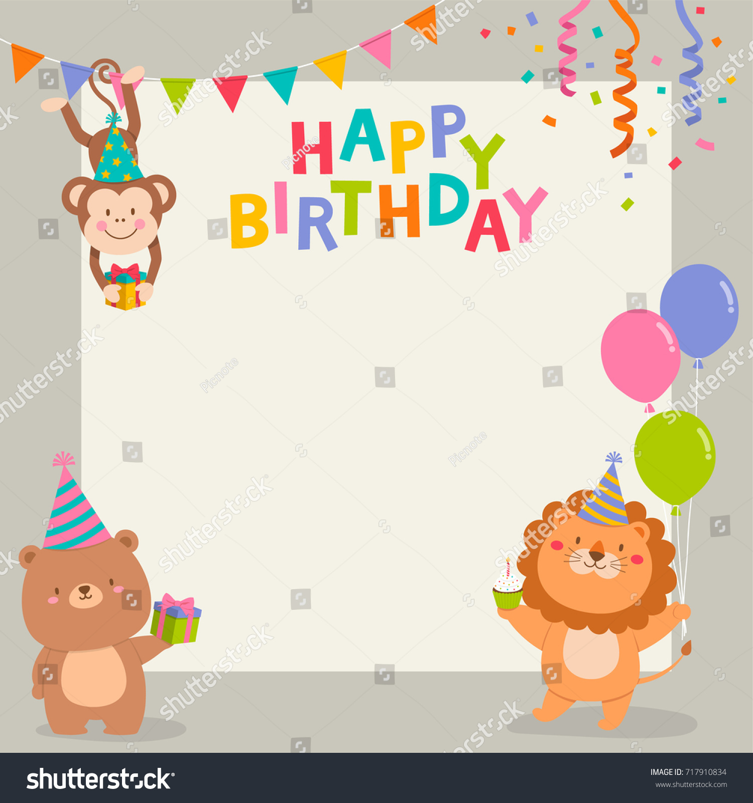 Cute cartoon animals illustration copy space stock vector royalty cute cartoon animals illustration with copy space for birthday invitation card template stopboris Images