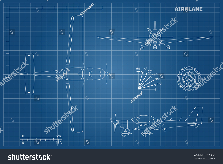 Engineering blueprint plane fast sport airplane vectores en stock engineering blueprint of plane fast sport airplane view top side and front industrial malvernweather Choice Image