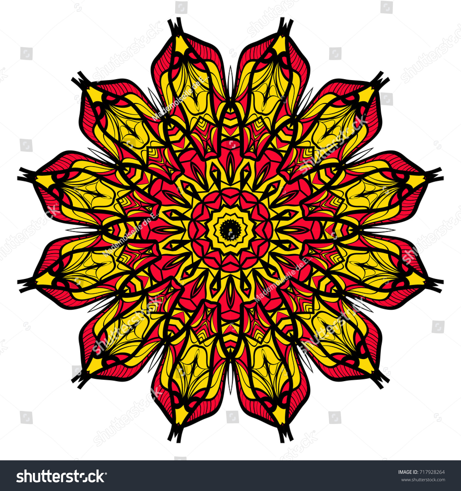Yellow Red Black Color Flower Mandala Stock Vector 717928264 ...