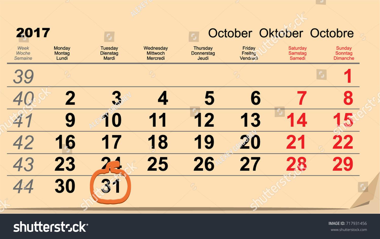 31 October 2017 Halloween Calendar Date Stock Vector 717931456 ...