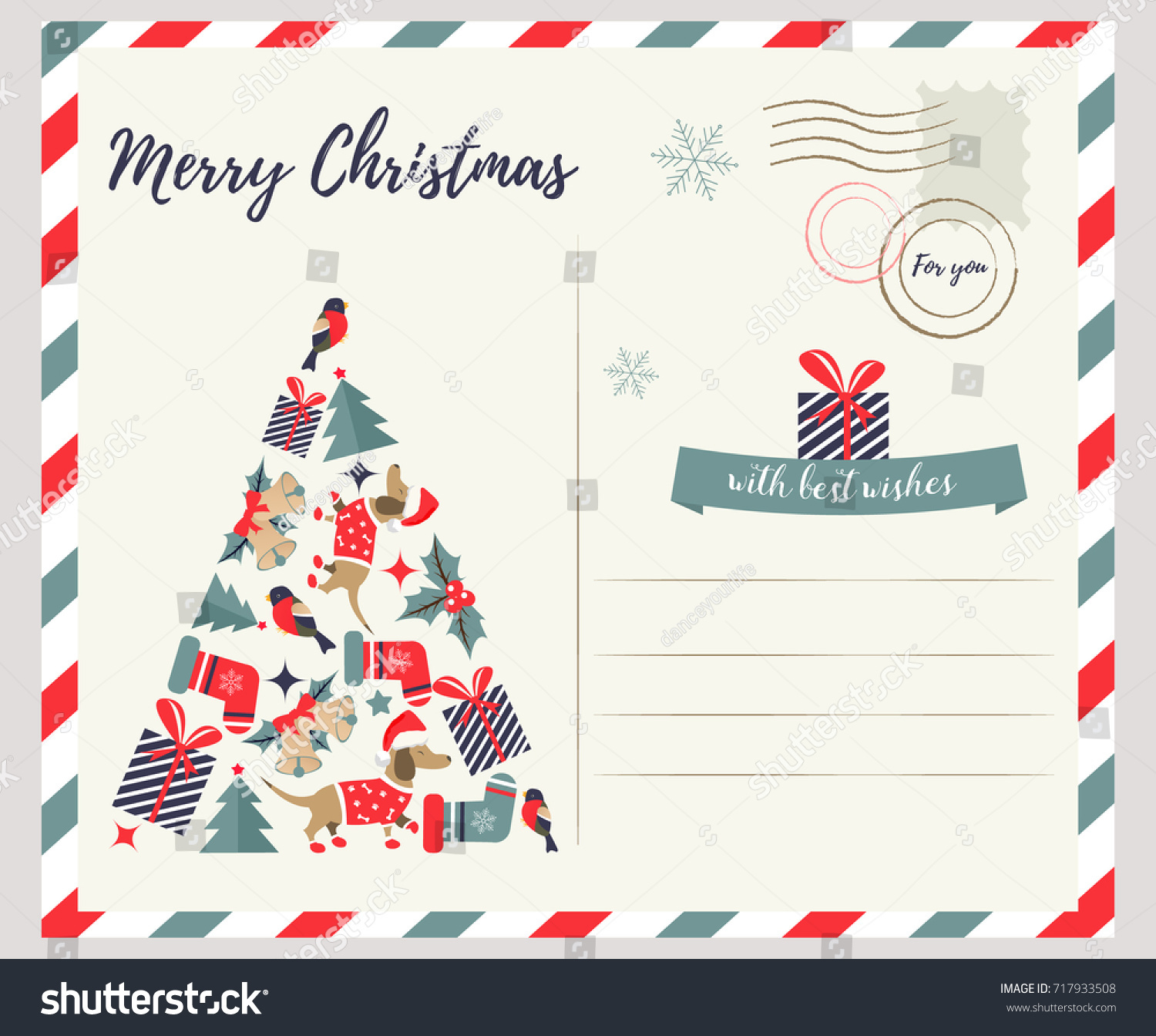 Holiday Greeting Card Christmas Eve Stock Vector (Royalty Free ...