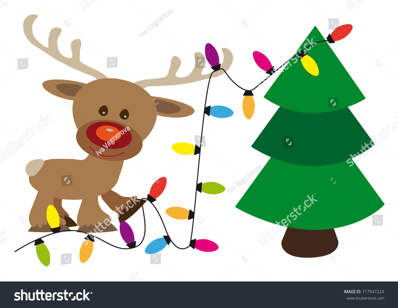 Happy Reindeer Decorates Christmas Tree Lighting Stock Vector ...