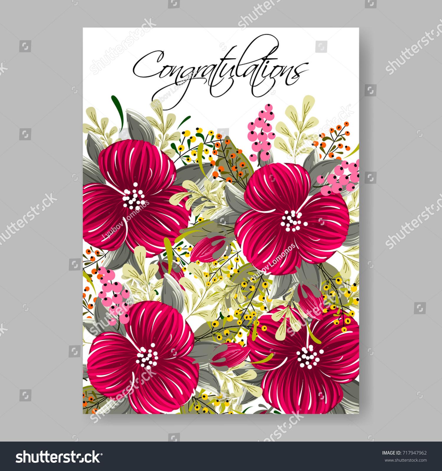 Anemone Red Floral Elegant Wedding Invitation Stock Vector (Royalty ...