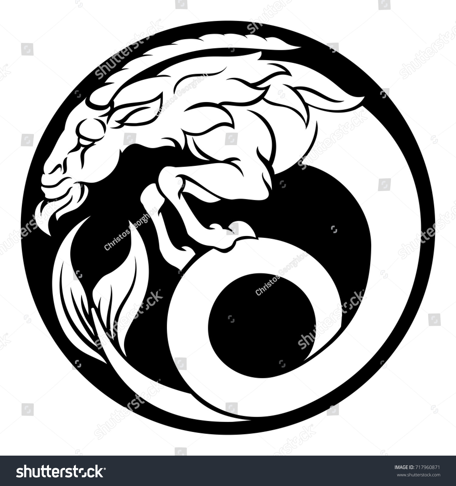 Capricorn Sea Goat Horoscope Astrology Zodiac Stock Vector Royalty