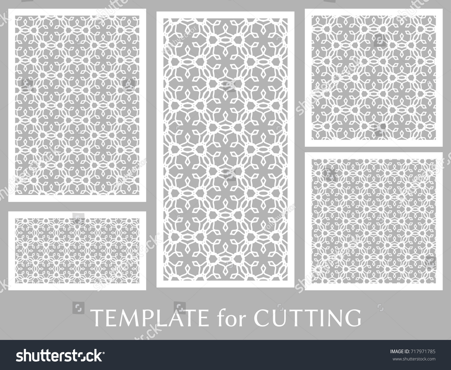 Decorative Panels Set Laser Cutting Geometric Stock Vector 717971785 ...
