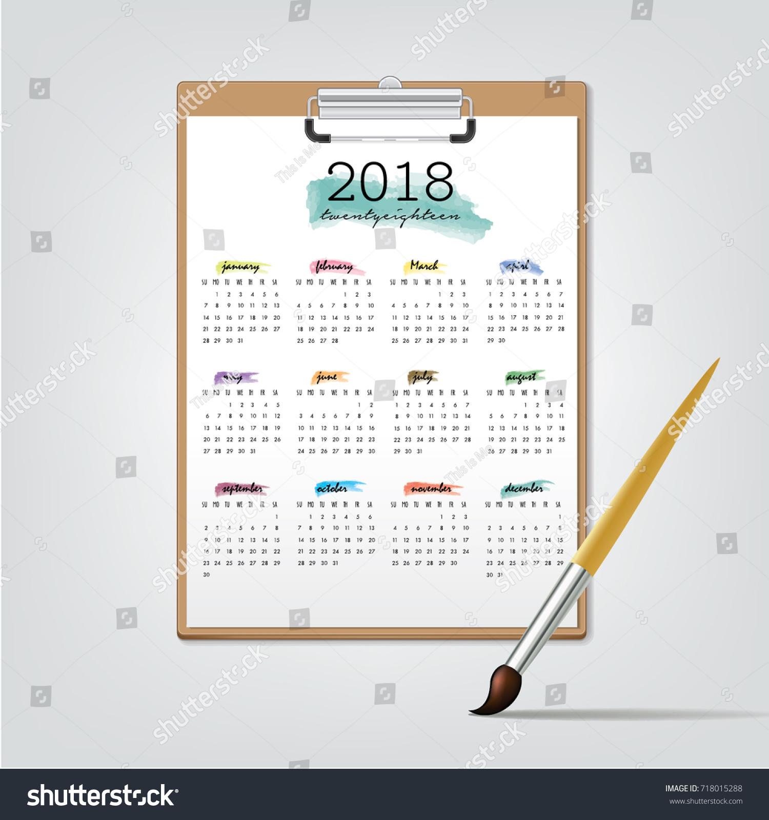 January December Desktop Calendar 2018 Years Week starts Monday Vector stationery color