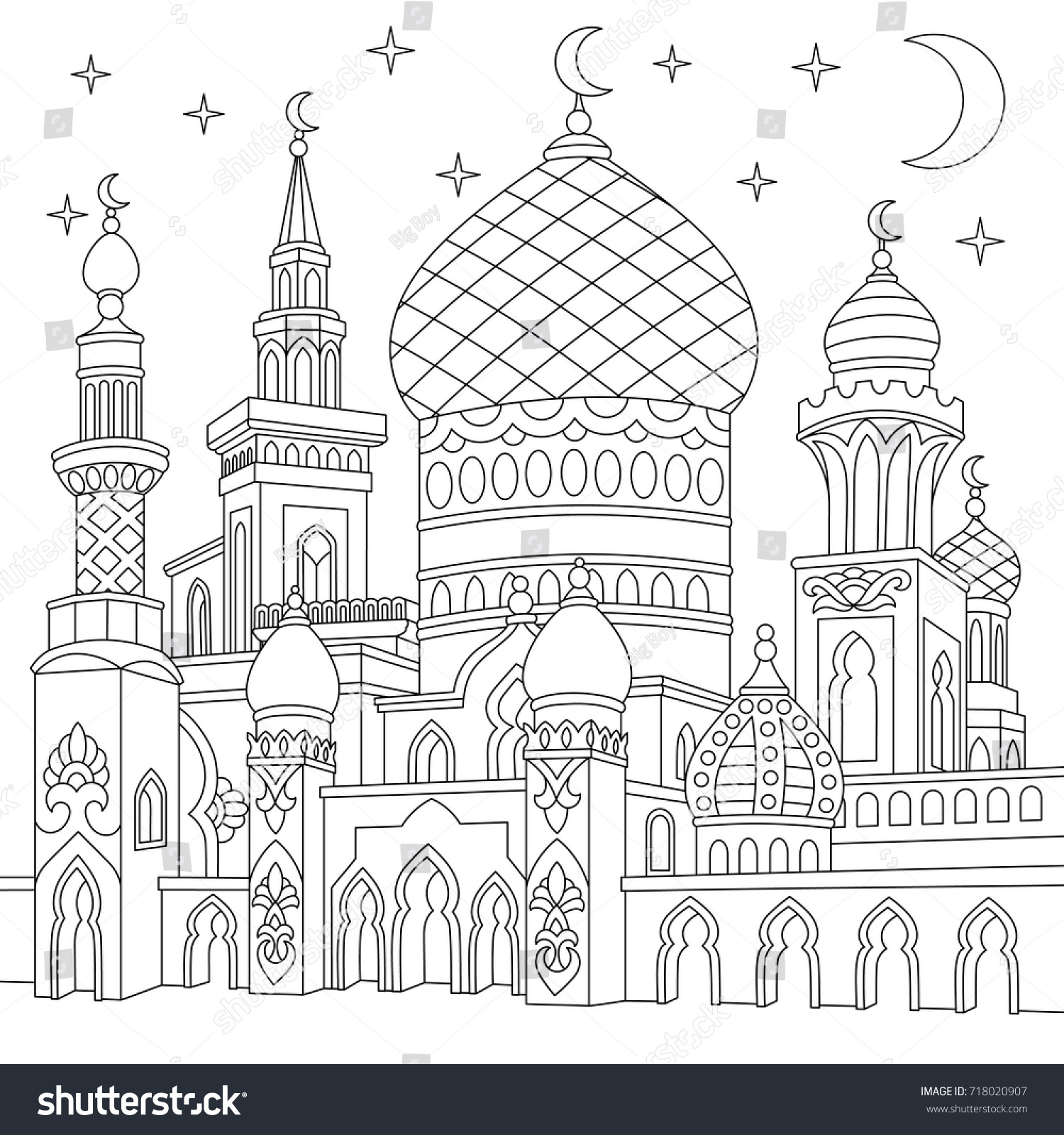 Coloring Page Turkish Mosque Crescent Moons Stock Vector (Royalty ...
