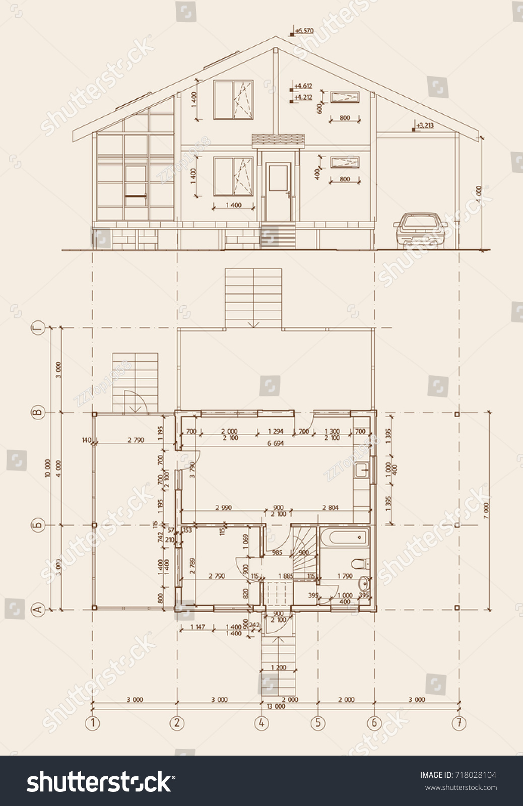 Authors design residential frame house terrace stock for Terrace elevation designs
