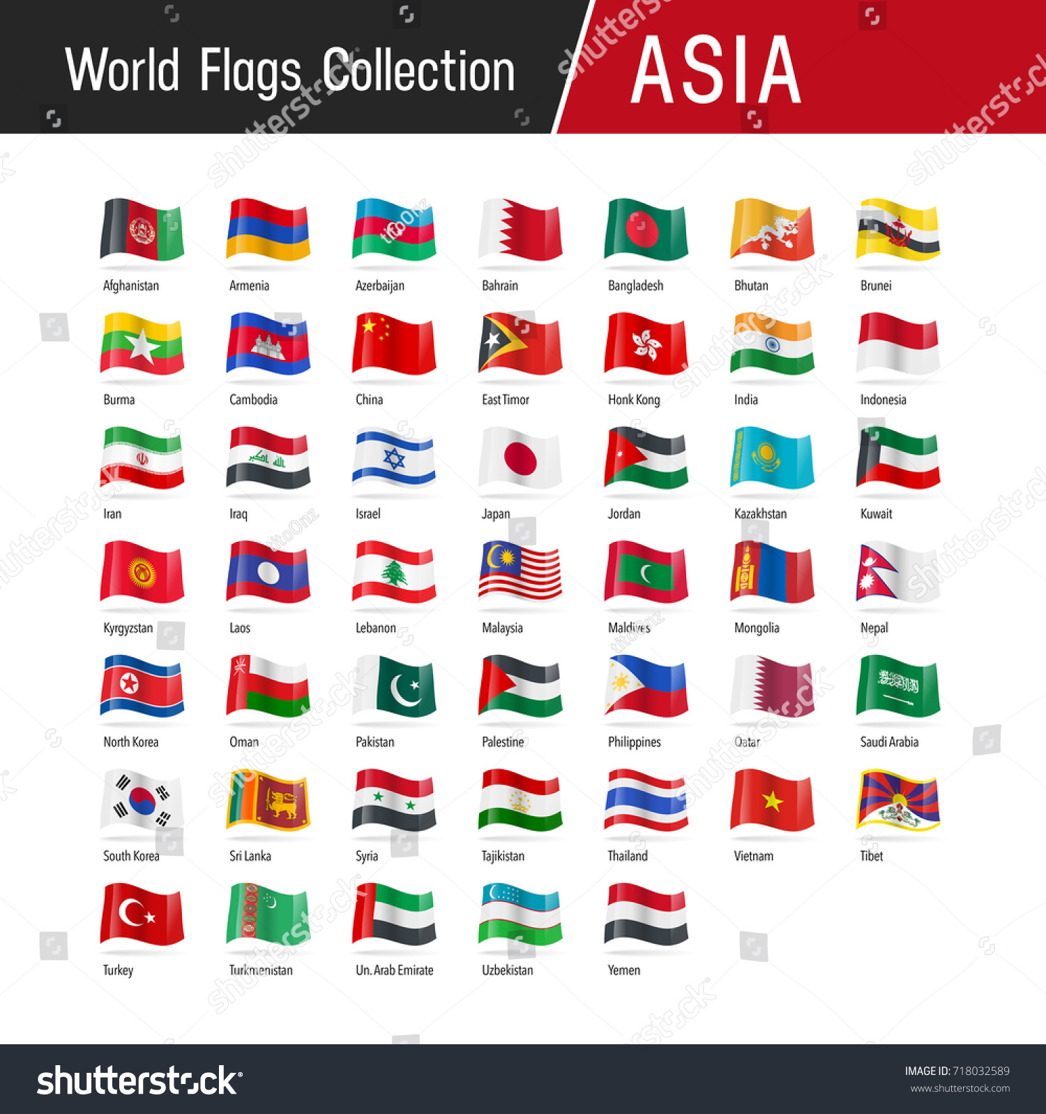 Flags Asia Waving Wind Vector World Stock Vector Royalty Free 718032589