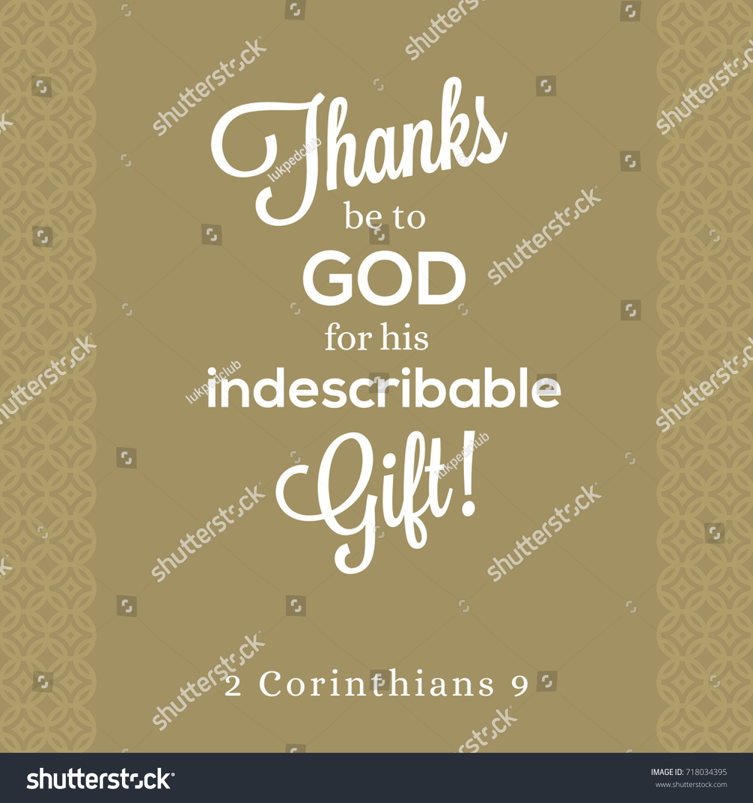 Thanks Be God His Indescribable Gift Stock Vector 718034395 ...