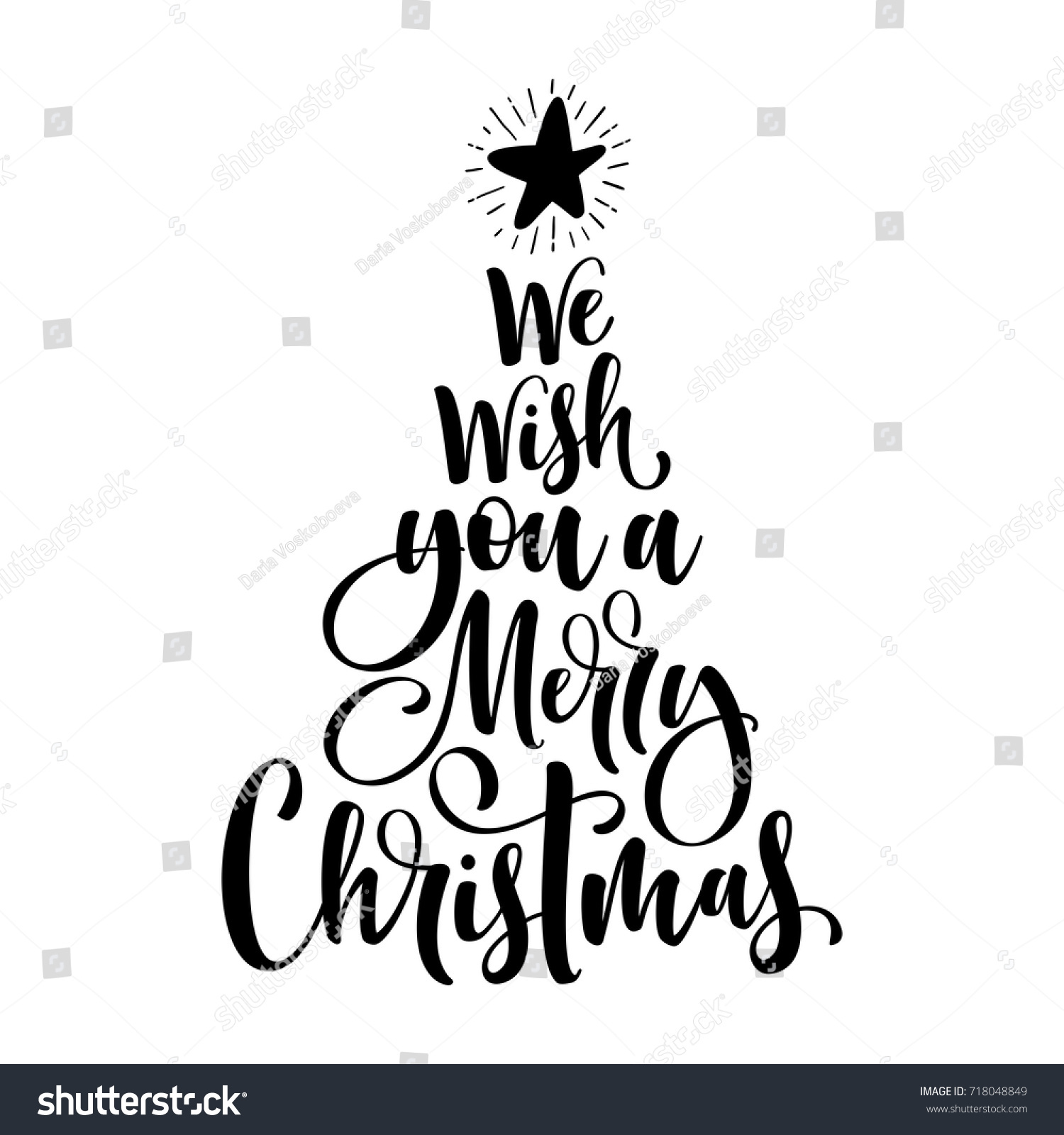we wish you a merry christmas calligraphy text for greeting cards