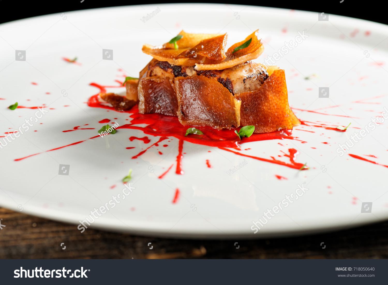 Haute Cuisine Pork Confit Steak Fine Stock Photo 718050640 ...