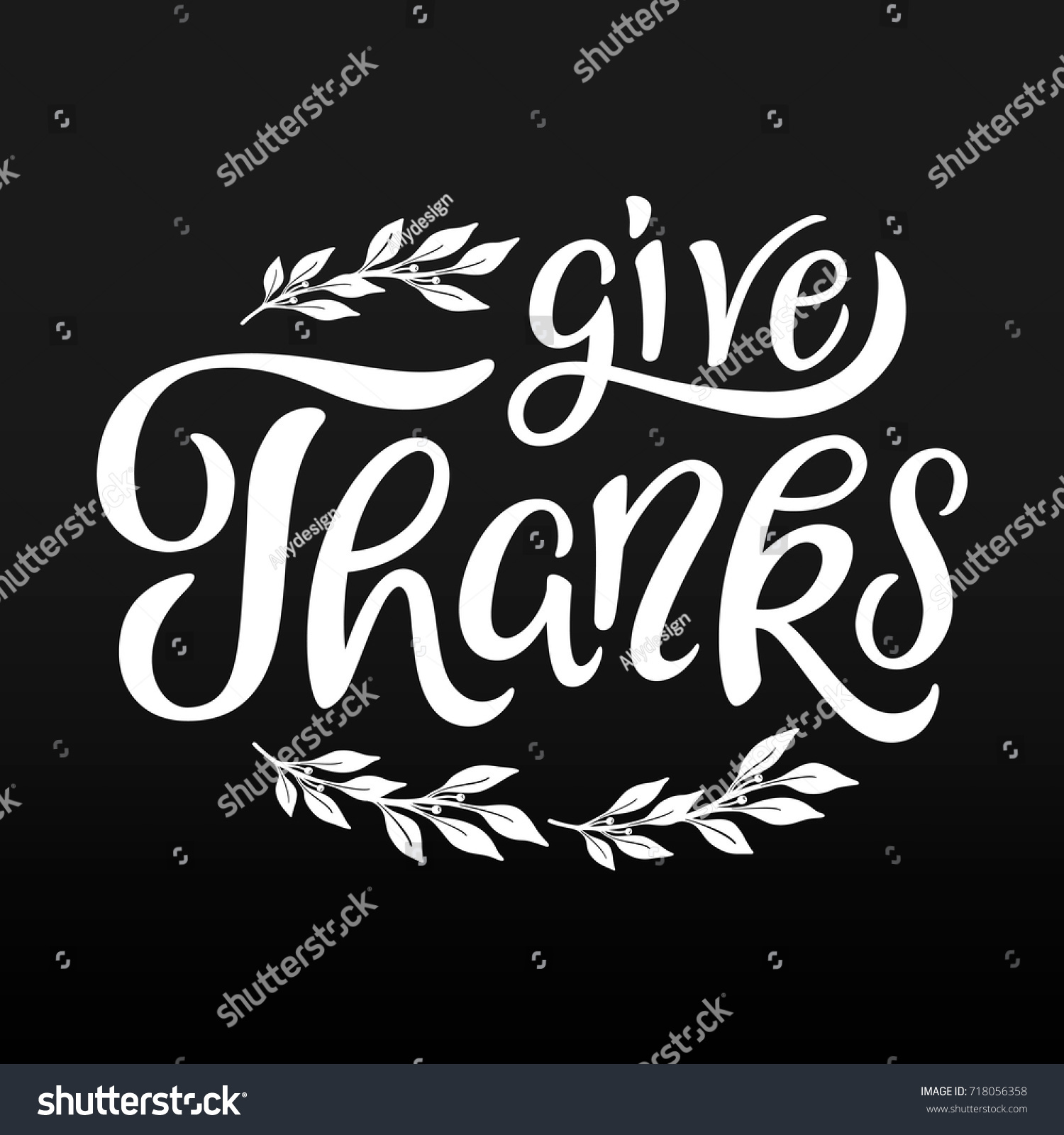 Give Thanks Lettering Card Template Thanksgiving Stock Vector