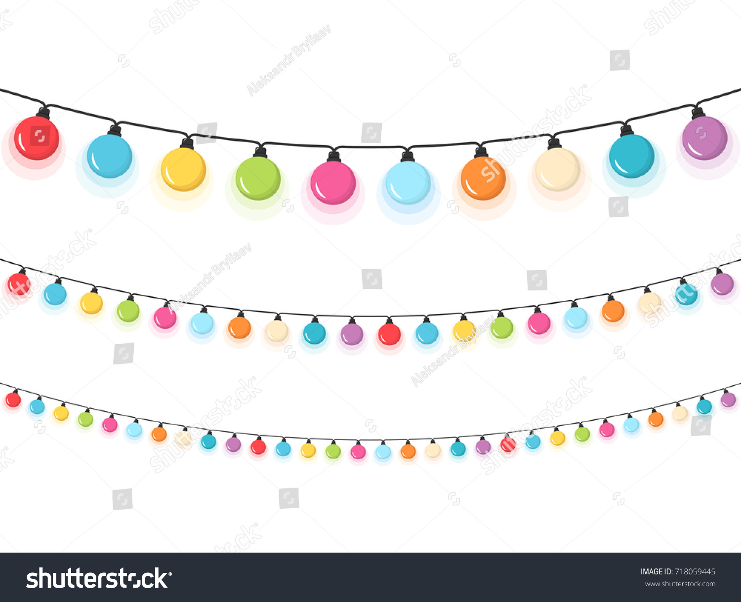 Colorful Round Christmas Lights White Background Stock Vector ...