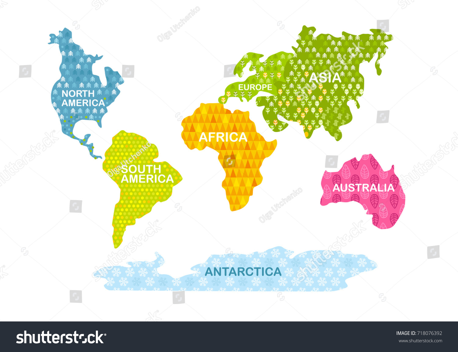 Colorful World Map Continents Patterns Africa Stock Vector