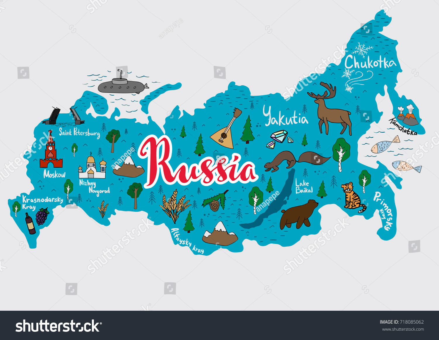 Illustrated Map Russia All Main Cities Stock Vector (Royalty Free ...