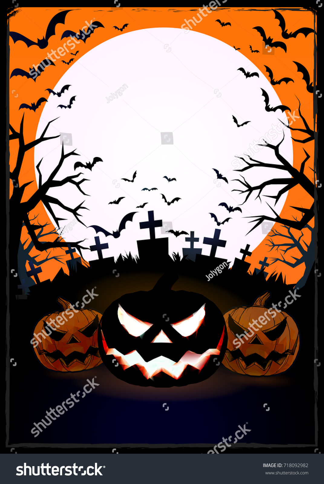 Orange Grungy Halloween Background With Scary Pumpkins Full Moon